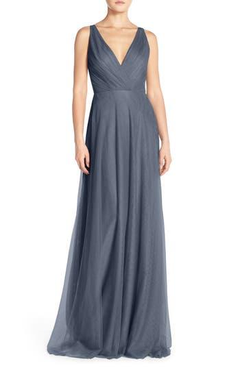 Monique Lhuillier Bridesmaids Back Cutout Pleat Tulle Gown