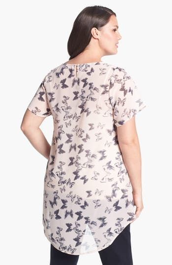 Alternate Image 2  - Evans Butterfly Print High/Low Top (Plus Size)