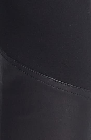 Alternate Image 5  - St. John Collection Leather Accent Ponte Knit Leggings