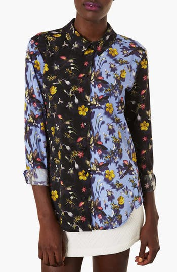 Alternate Image 1 Selected - Topshop 'Tiny Blur' Floral Print Shirt