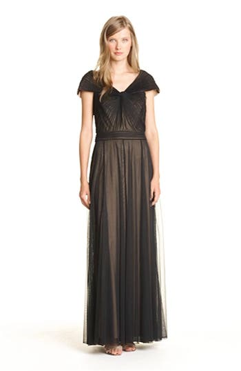 Portrait Collar Pleated Mesh Gown, video thumbnail