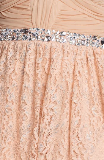 Alternate Image 3  - Way-In Embellished Lace Fit & Flare Dress (Juniors) (Online Only)