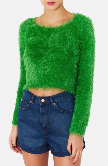 Main Image - Topshop 'Gaga' Textured Crop Sweater
