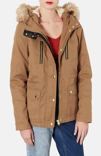 Alternate Image 1 Selected - Topshop Removable Faux Fur Trim Parka