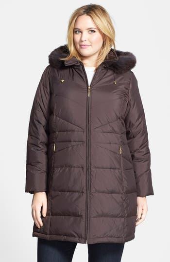 Ellen Tracy Genuine Fox Fur Trim Hooded Down Walking Coat (Plus Size)