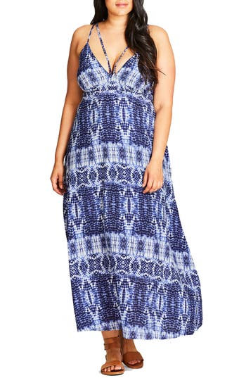 City Chic Tie Dye Blues Maxi Dress (Plus Size)