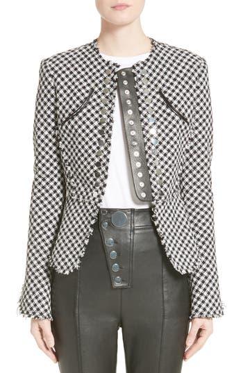 Alexander Wang Check Tweed Peplum Jacket