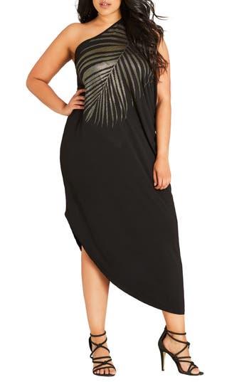 Shimmer Palm One-Shoulder Maxi Dress