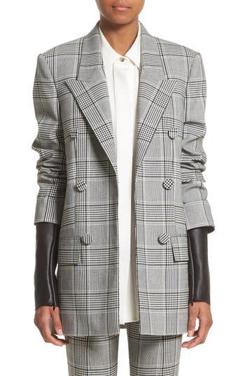 Alexander Wang Leather Sleeve Check Blazer