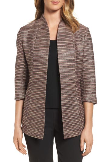 Ming Wang Ribbed Metallic Tweed Jacket