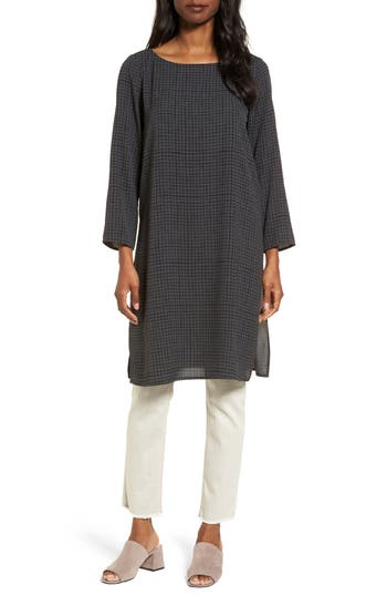 Eileen Fisher Check Silk T..