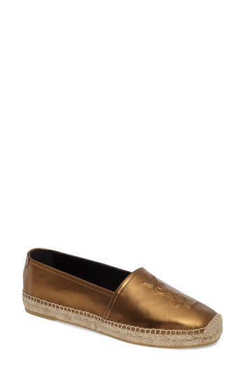 Saint Laurent Metallic Logo Espadrille (Women)