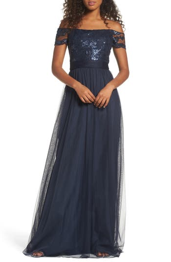 Amsale Ireland Embellished Off the Shoulder Gown