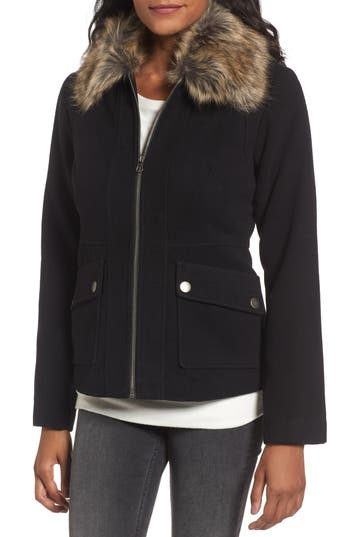Maralyn & Me Jacket with Faux Fur Collar