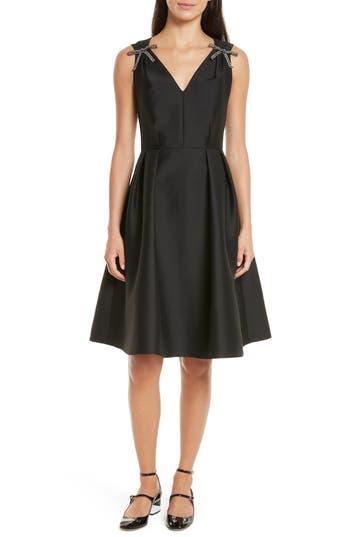 kate spade new york bow embellished fit & flare dress