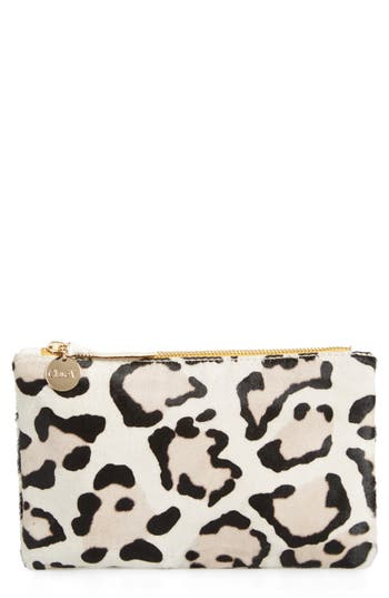 Clare V. Snow Leopard Print Genuine Calf Hair Pouch
