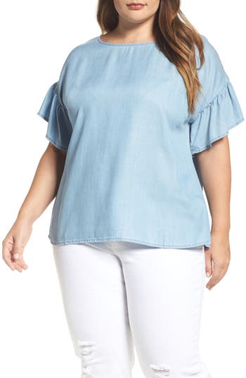 Two by Vince Camuto Ruffle Sleeve Chambray Top (Plus Size)