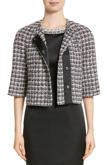 St. John Collection Metallic Plaid Tweed Jacket
