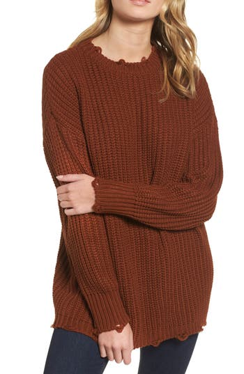 Moon River Distressed Chunky Knit Sweater