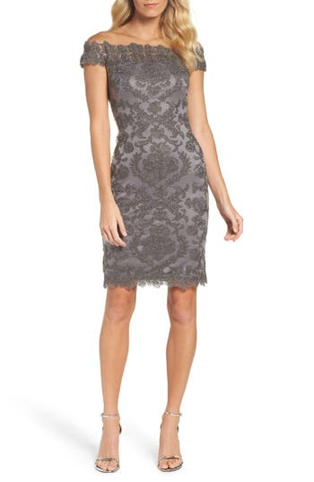Tadashi Shoji Embroidered Illusion Off the Shoulder Sheath Dress