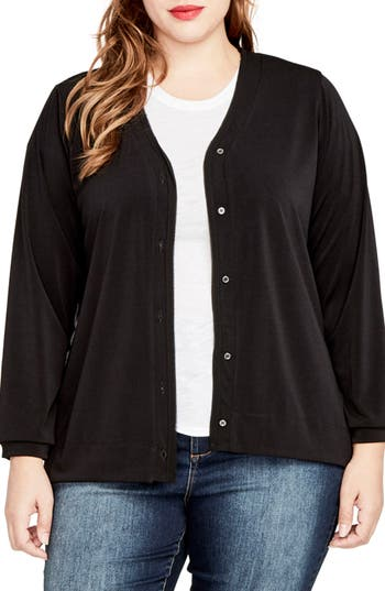 RACHEL Rachel Roy Sheer Back Cardigan (Plus Size)