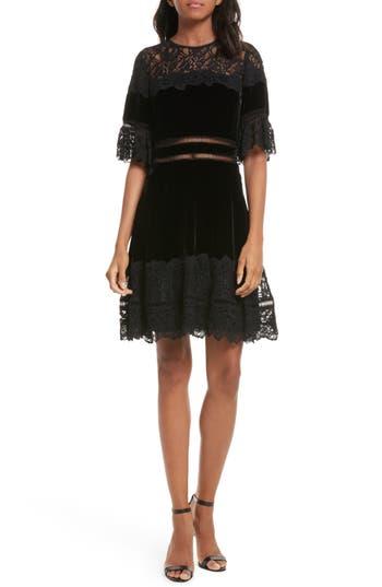 Rebecca Taylor Lace & Velvet Dress