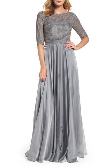 La Femme Embellished Bodice Gown