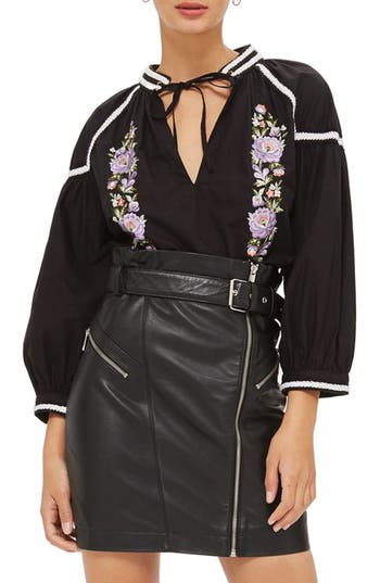 Topshop Embroidered Poplin Tie Neck Top