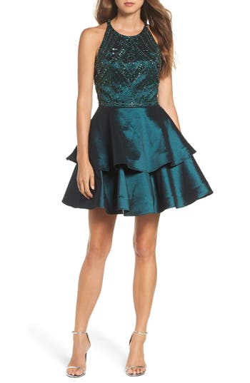 Sean Collection Beaded Tiered Fit & Flare Dress