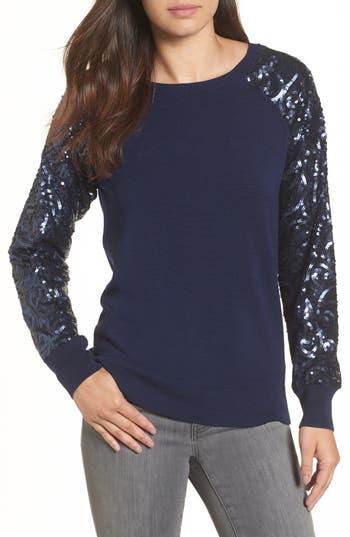 Halogen® Sequin Sleeve Sweatshirt