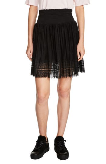 maje Lace Hem Pleated Skirt