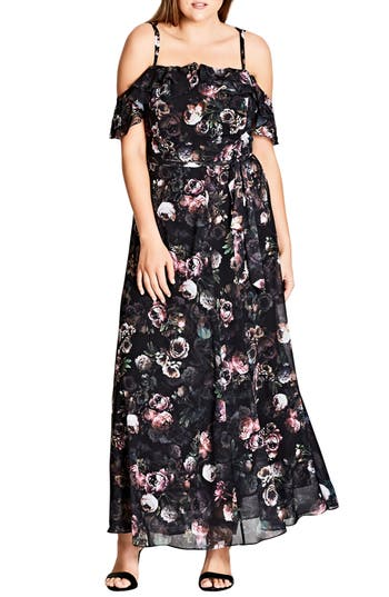 City Chic Vintage Peony Strappy Off the Shoulder Maxi Dress (Plus Size)