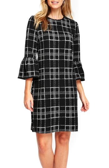 Wallis Textured Check Bell Sleeve Shift Dress