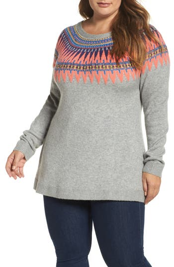 Caslon® Tie Back Patterned Sweater (Plus Size)