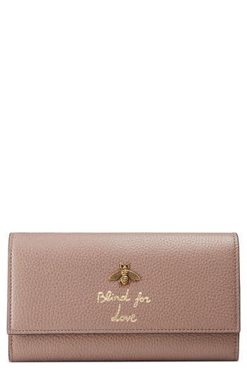 Gucci Animalier Bee Leather Continental Wallet