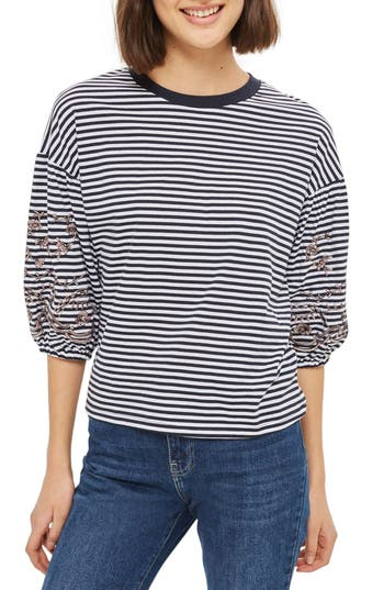 Topshop Embroidered Stripe..