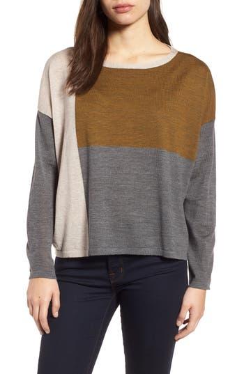 Eileen Fisher Colorblock Boxy Merino Wool Sweater (Regular & Petite)
