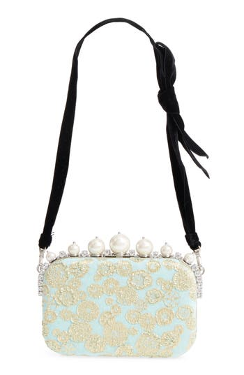 Imitation Pearl & Metallic Brocade Shoulder Bag by Miu Miu