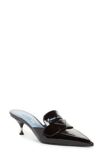 Logo Pointy Toe Mule by Prada
