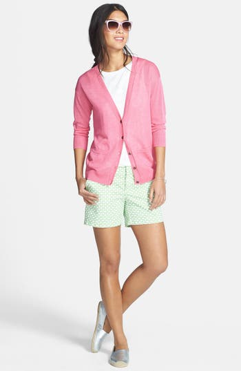 Main Image - Caslon® V-Neck Cardigan & Shorts, Halogen® Lace Trim Top