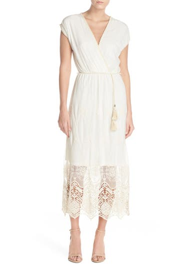 Fraiche by J Embroidered Mesh & Cotton Midi Dress