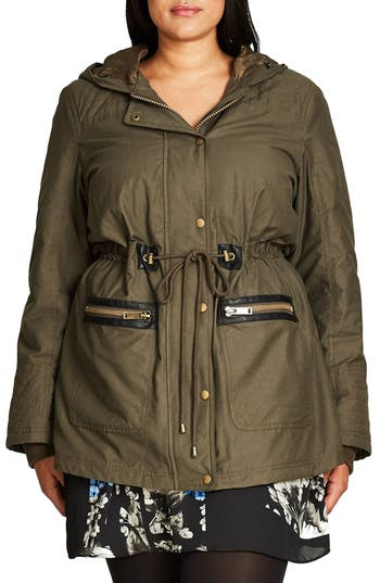 City Chic Faux Fur & Faux Leather Trim Hooded Drawstring Parka (Plus Size)