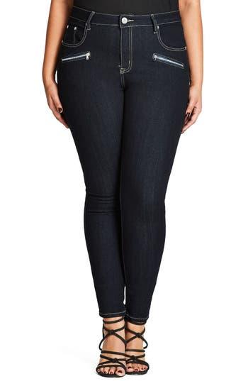 City Chic Glam Zip Skinny Jeans (Dark Denim) (Plus Size)