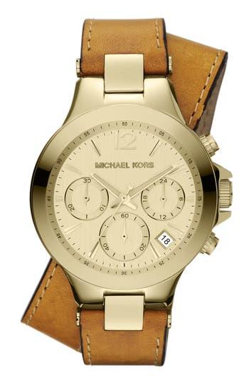 Michael Kors Peyton Double Wrap Leather Strap Watch