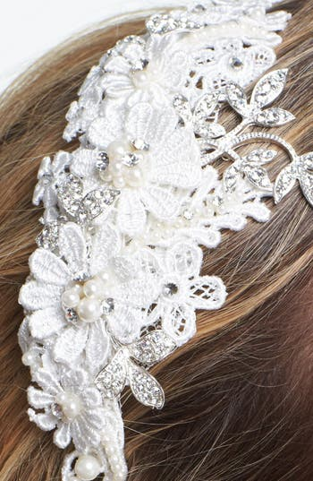 'Kathryn' Faux Pearl & Crystal Mélange Headband,                             Alternate thumbnail 2, color,                             Ivory