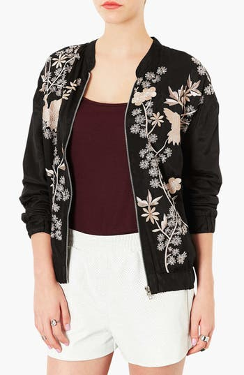 Main Image - Topshop 'Chinoiserie' Embroidered Bomber Jacket