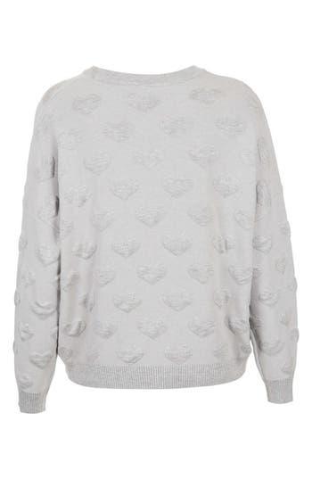 Alternate Image 2  - Topshop Quilted Heart Sweatshirt (Petite)