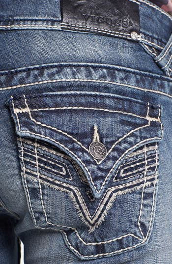 Alternate Image 3  - Vigoss Embroidered Flap Pocket Bootcut Jeans (Medium) (Juniors) (Online Only)