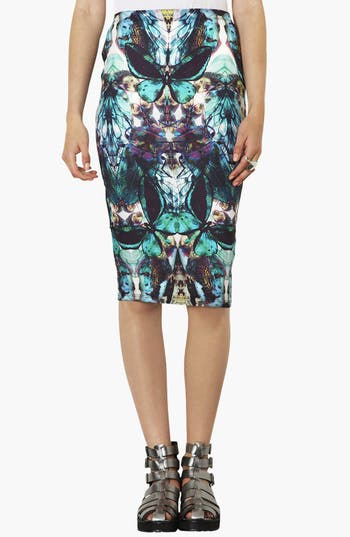Alternate Image 1 Selected - Topshop Moth Print Tube Skirt