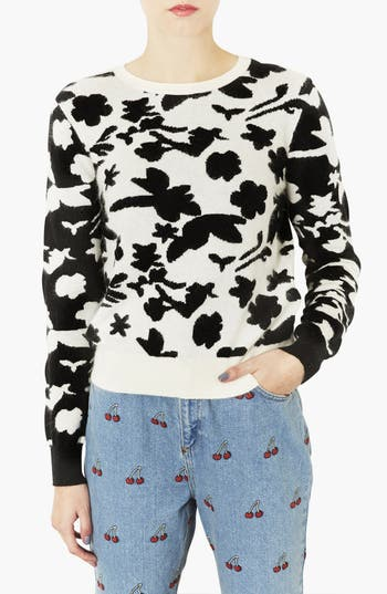 Alternate Image 1 Selected - Topshop Floral Sweater